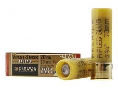 "Federal 20 Gauge Ammunition PB203RS Vital-Shok 2-3/4"" 3/4oz TruBall Hollow Point Rifled Slug 1600fps 5 rounds"