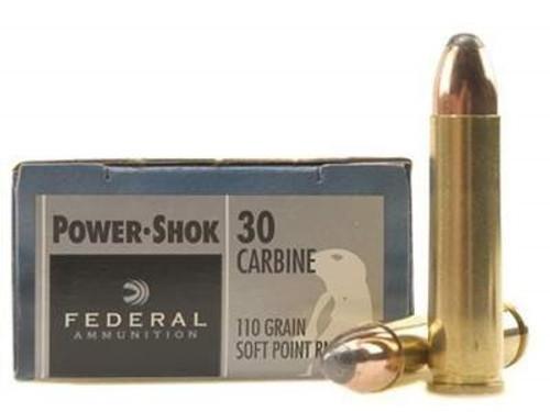 Federal 30 Carbine Ammunition Power-Shok F30CA 110 Grain Soft Point 20 rounds