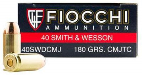 Fiocchi Shooting Dynamics 40 S&W Ammo 180 Grain Full Metal Jacket Truncated Cone 40SWDCMJ 50 Rounds