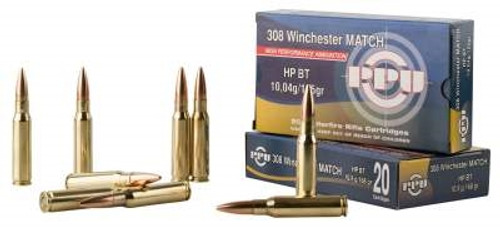 Prvi PPU Match 308 Win/7.62 NATO Match Ammunition PPM3082 168 Grain Hollow Point Boat Tail 20 Rounds