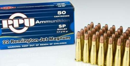 Prvi PPU 22 Rem Jet Mag Ammunition PPR20 45 Grain Soft Point 50 Rounds