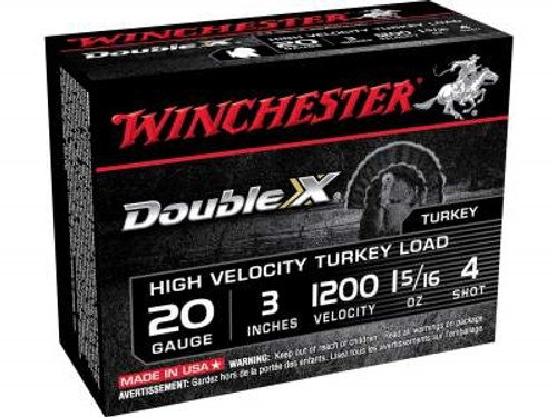 "Winchester 20 Gauge Ammunition STH2034 3"" 1-5/16oz #4 1200fps High Velocity Magnum Turkey 10 rounds"