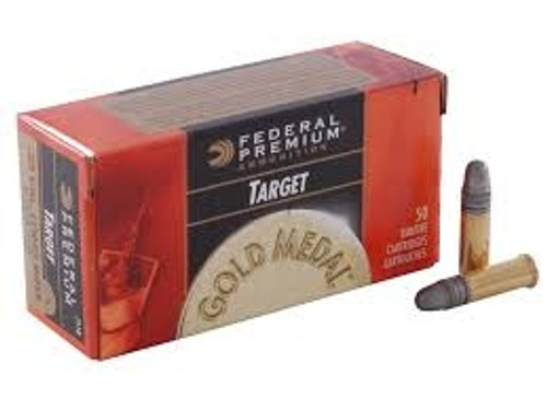 Federal 22 LR Ammunition Gold Medal Target 711b 40 gr LRN 50 rounds