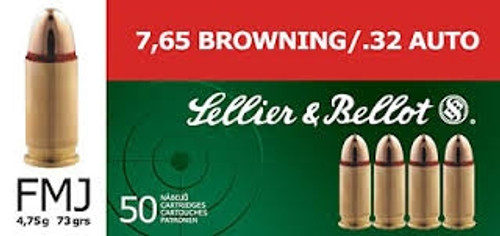 Sellier & Bellot 32 ACP Ammunition SB32A 73 Grain Full Metal Jacket 50 rounds
