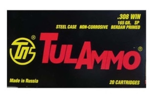 Tula 308 Winchester Ammunition 165 Grain Soft Point Steel Case 500 rounds