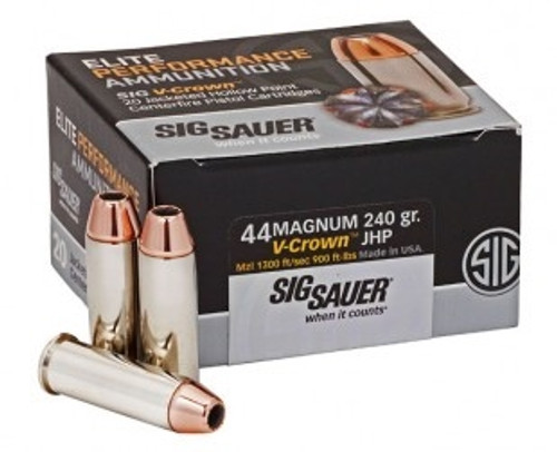 Sig Sauer 44 Magnum Ammunition V-Crown E44MA1-20 240 Grain Jacketed Hollow Point 20 rounds