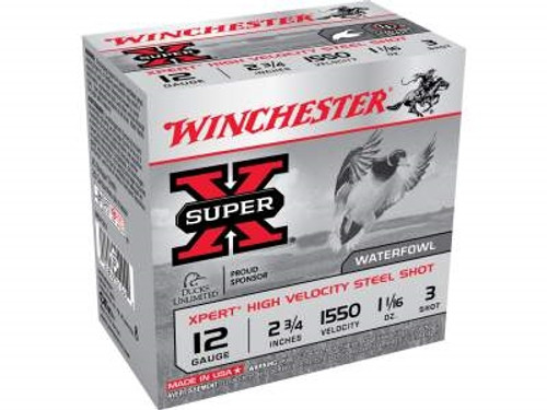 "Winchester 12 Gauge Xpert High Velocity Ammunition WEX123 2-3/4"" 1-1/16 oz #3 Non-Toxic Steel Shot 1550fps 25 rounds"
