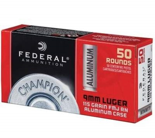 Federal Champion 9mm Ammunition Aluminum CAL9115WC 115 Grain Full Metal Jacket 50 rounds