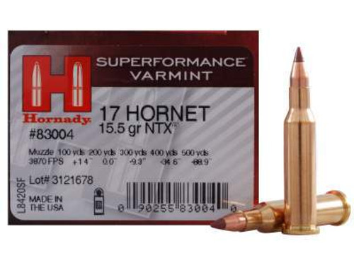 Hornady 17 Hornet Superformance Varmint #83004 15.5 gr NTX 25 rounds