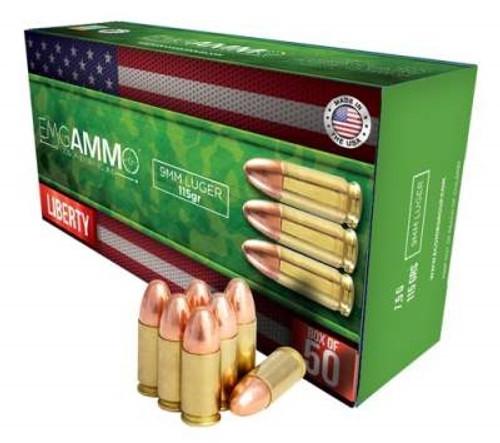 EMGAmmo 9mm Ammunition 115 Grain Full Metal Jacket 50 rounds