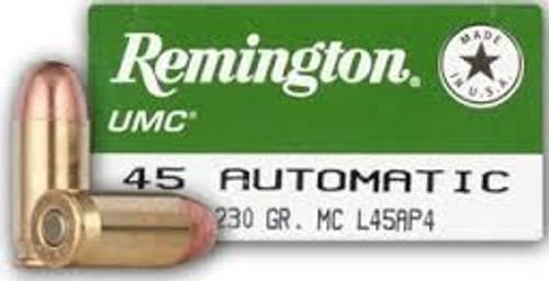Remington 45 ACP Ammunition L45AP4 230 Grain Full Metal Jacket 50 Rounds