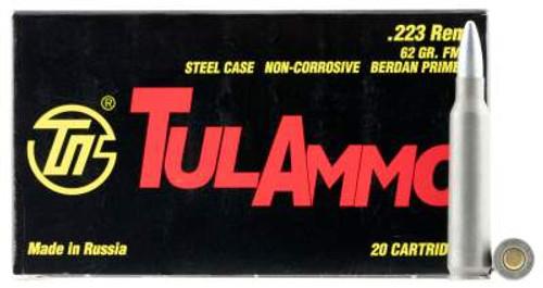 Tula 223 Rem Ammunition 62 Grain Full Metal Jacket 20 Rounds