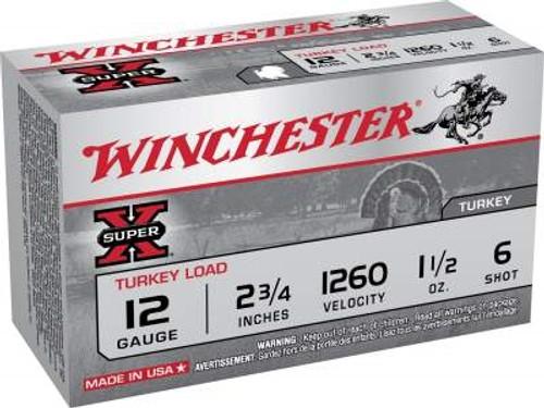 "Winchester 12 Gauge Super-X Turkey X123MT6 3"" 1-7/8oz #6 Copper Shot 1210fps 10 rounds"