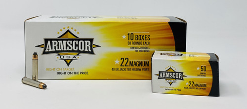 Armscor 22 WMR Ammunition 40 Grain Jacketed Hollow Point Brick of 500 Rounds