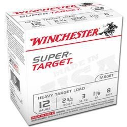 "Winchester 12 Gauge Ammunition Target TRGT12M8 2 3/4"" 1-1/8oz #8 shot 1200 FPS CASE 250 rounds"