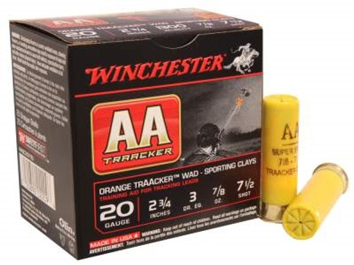 """Winchester 20 Gauge AASC207TO TrAAcker Orange Sporting Clays 2-3/4"""" 7/8 oz #7.5 shot 1300fps CASE 250 rounds"""