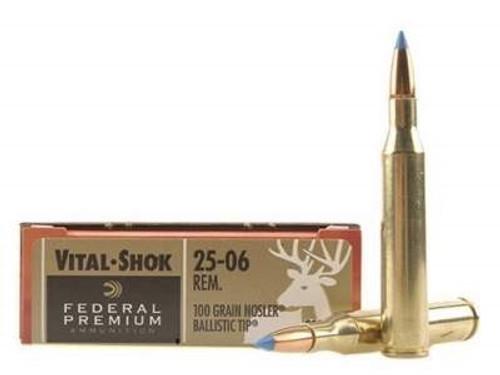 Federal 25-06 Ammunition Vital-Shok P2506D 100 Grain Nosler Ballistic Tip 20 rounds