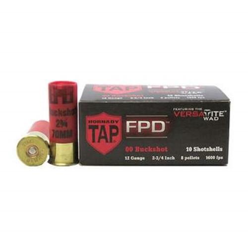 "Hornady 12 Gauge Ammunition TAP FPD H86276 2-3/4"" 8 Pellet 00 Buckshot 1600fps 10 rounds"