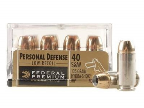 Federal 40 S&W Ammunition Hydra-Shok PD40HS4H 135 Grain Jacketed Hollow Point 20 rounds