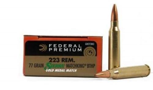 Federal 223 Remingtion Gold Medal GM223M3 77 gr Sierra Matchking BTHP Match  20 rounds