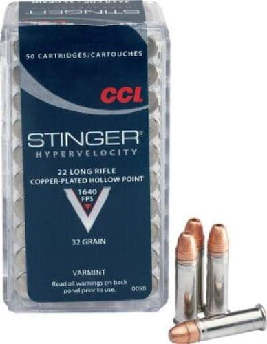 CCI 22 LR Stinger Ammunition Hyper Velocity 0050 32 Grain Copper Plated Hollow Point Brick of 500 Rounds