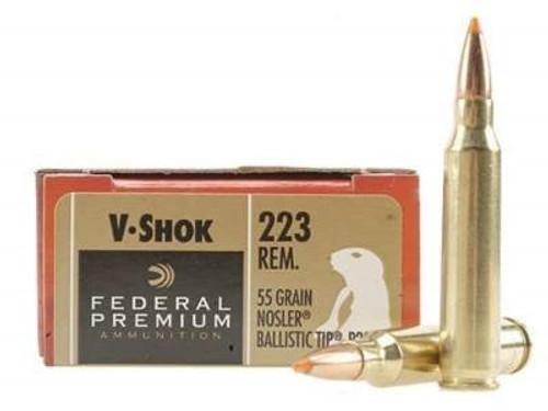 Federal 223 Rem Ammunition Vital-Shok P223F 55 Grain Nosler Ballistic Tip 20 rounds
