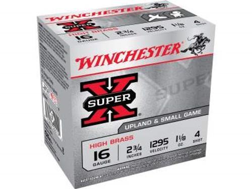 """Winchester 16 Gauge Ammunition Super-X High Brass X16H4 2-3/4"""" 1-1/8oz #4 1295fps 25 rounds"""