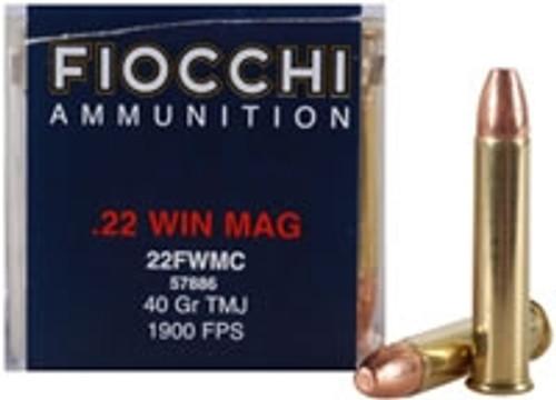 Fiocchi 22 WMR Ammunition 22FWMC 40 Grain Total Metal Jacket BRICK 500 rounds