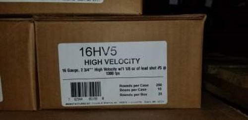 "Fiocchi 16 Gauge Ammunition FI16HV5 High Velocity 2-3/4"" #5 1-1/8oz 1300 fps 250 Rounds"