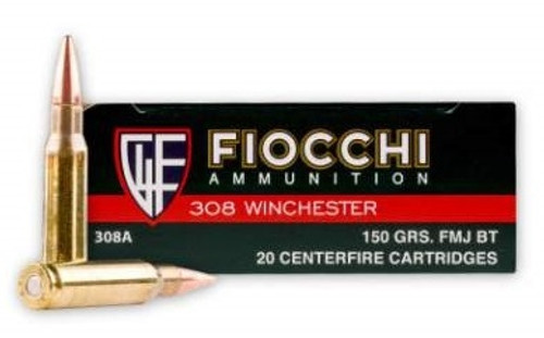 Fiocchi 308 Winchester Ammunition 150 Grain Full Metal Jacket 20 Rounds