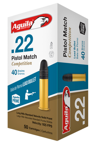 Aguila 22LR Ammunition Pistol Match 1B222516 40 Grain Lead Round Nose 50 rounds