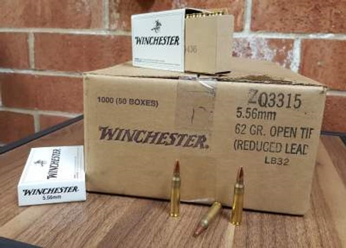 Winchester 5.56x45mm NATO FBI Training Ammunition Q3315 62 Grain Open Tip Lead Free Primer CASE 1,000 rounds
