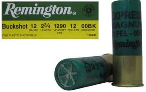 """Remington 12 Gauge Ammunition 12SB00 2-3/4"""" 00 Buck 12 Pellet 1290fps 5 rounds"""