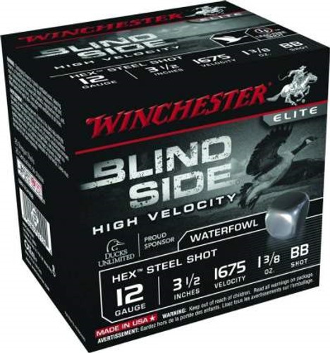 "Winchester 12 GA Blind Side High Velocity SBS12LHVBB Ammunition 3-1/2"" 1-3/8 oz 1675fps BB Steel Shot 250 rounds"