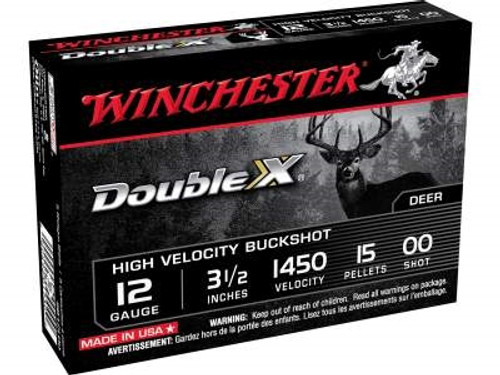 "Winchester 12 Gauge Ammunition Double X SB12L00 3-1/2"" Copper Plated 00 Buckshot 15 Pellets 1450fps 5 rounds"