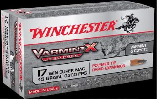 Winchester 17 WSM Ammunition Power-Core X17W15PLF 15 Grain Lead Free Polymer Tip 50 rounds