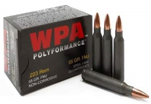 Wolf 223 Rem WPA Polyformance 55 gr HP Steel CASE 500 rounds