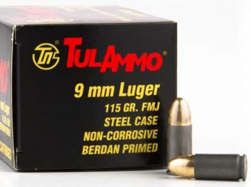 Tula 9mm Luger Ammunition 115 Grain Full Metal Jacket Steel Case 100 rounds