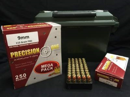 Precision One 9mm Ammunition REMAN 115 Grain Full Metal Jacket 500 rounds