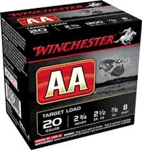"Winchester 20 GA AA 2 3/4"" 7/8 oz #8 shot AA208 1200fps 250 rounds"