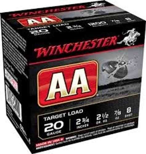 "Winchester 20 GA AA 2 3/4"" 7/8 oz #8 shot AA208 1200fps 250 rounds"