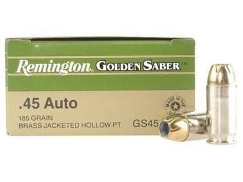 Remington 45 Auto +P Ammunition Golden Saber GS45APCB 185 Grain Brass  Jacketed Hollow Point 50 rounds