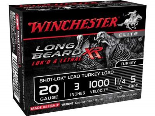 "Winchester 20 Gauge Ammunition Long Beard STLB2035 3"" 1-1/4oz 1100FPS #5 Copper Plated Shot 10 rounds"