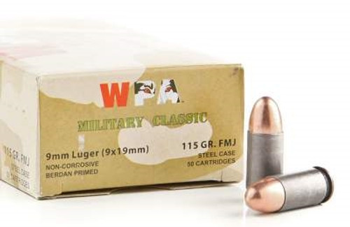Wolf 9mm Ammunition Military Classic 115 Grain Full Metal Jacket 50 rounds
