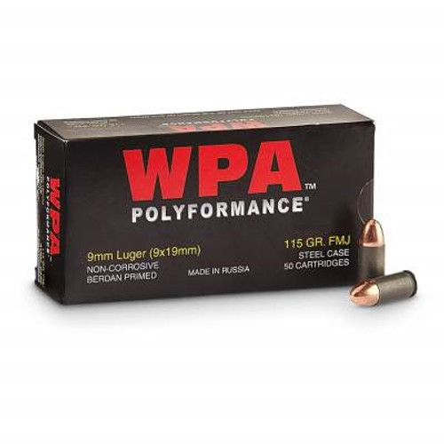 Wolf 9mm Ammunition Polyformance WPA9FMJ115 115 Grain Full Metal Jacket Case of 500 Rounds