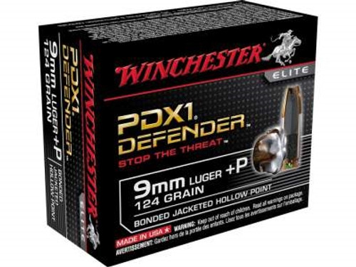 Winchester 9mm +P PDX1 Defender S9MMPDB 124 gr Bonded JHP 20 rounds