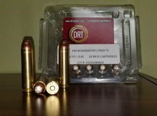 DRT 450 Bushmaster Ammunition Terminal Shock 170 Grain Jacketed Hollow Point 20 rounds