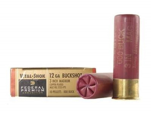 "Federal 12 Gauge Ammunition Vital-Shok P158000 3"" Buffered 000 Copper Plated Buckshot 10 Pellets 1225fps 5 rounds"