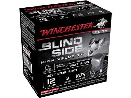 "Winchester 12 GA Blind Side High Velocity SBS123HV6 Ammunition 3"" 1-1/8 oz #6 1675fps Non-Toxic Steel Shot 250 rounds"