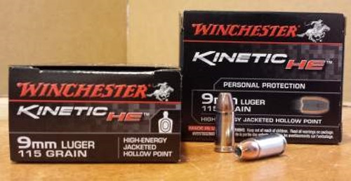 Winchester 9mm Kinetic Energy HE9JHP 115 gr JHP 20 rounds
